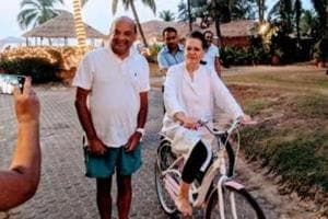 Sonia Gandhi on Goa vacation, actor posts image of her riding bicycle