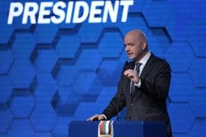 FIFA president Gianni Infantino gives Video Assistant Referee thumbs...