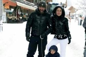 Taimur riding a sledge in thick Switzerland snow with mom Kareena, dad...