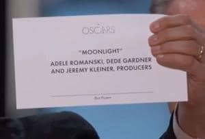 The presenters of the Best Picture category wrongly announced La La Land as the winner, when Moonlight had in fact won the award.