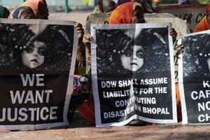Bhopal gas disaster survivors hold a protest rally in Bhopal.