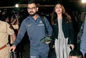 Virat Kohli, Anushka Sharma check in as Indian cricket team lands in...