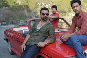 Actors Ajaz Khan and Sahil Anand at the shooting of film