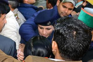 The 62-year-old leader entered into a heated argument with one of the women constables after she was allegedly pushed. Kumari then slapped the woman constable, who hit her back.