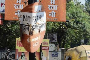 A damaged signboard on the Wrangler Paranjpe lane, off FC road on Friday.