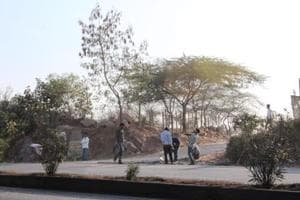 This road is perpendicular to the highway and provides direct access to fragments of the Aravalli hills and forests. There are also signs of new construction in the hills along the road.