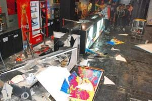 File photo of Shri Rajput Karni Sena members vandalising a multiplex in Kota to protest against the film, Padmavati.