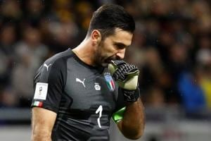 Italy's Gianluigi Buffon after Italy was defeated in 2018 FIFA World Cup qualifying encounter.