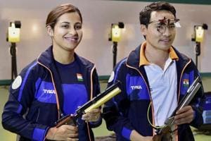 Heena Sidhu and Jitu Rai celebrate after winning the mixed team 10m Air Pistol event of the ISSF World Cup in New Delhi , which was the high point for India in shooting in 2017.