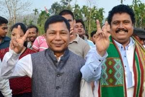 Meghalaya chief minister Mukul Sangma (left) in Assam. Unlike other states that have implemented the provisions of social audit only in certain schemes such as MGNREGA (the government's flagship rural job guarantee scheme), Meghalaya has come up with a comprehensive law that covers almost all development projects.