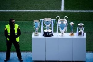 Real Madrid displayed their impressive trophy haul of 2017 in front of...