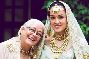 Actor Nafisa Ali's daughter looked sweet and chic in her Sabyasachi Mukherjee bridal lehenga.