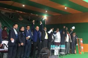 Four Meghalaya MLAs, including one from Congress, joined BJP in the presence of Union minister KJ Alphons and senior party leaders Ram Madhav and Nalin Kohli.