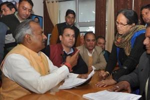 School education minister Arvind Pandey  at the Janta Darshan in the BJP headquarters in Dehradun on Tuesday.