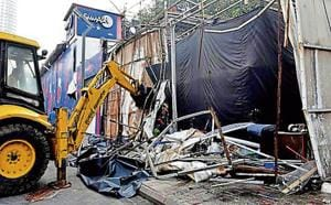 The BMC has demolished several illegal structures at Kamala Mills after the fire.
