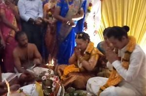 From exchanging the wedding vows in Tamil to taking the 'sathapathi' or seven rounds around the fire, the wedding went strictly by the book