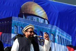 Hafiz Saeed , chief of Jamaat-ud-Dawa (JuD), during a gathering to protest against Trump