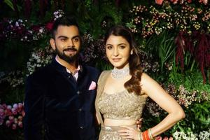 Cricketer Virat Kohli and actor Anushka Sharma at their Mumbai wedding reception.