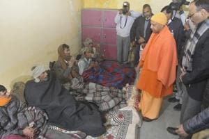 Before CM Yogi's visit, bonfires and blankets in place at raen basera
