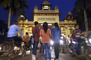 Girl students are seen outside the Banaras Hindu University