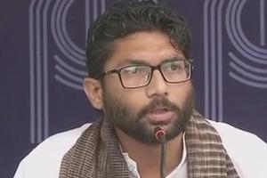 Gujarat MLA Jignesh Mevani during a press conference inNew Delhi on Friday. He had spearheaded protests in Gujarat a year ago after four Dalits were allegedly flogged by upper-caste men for skinning a dead cow.