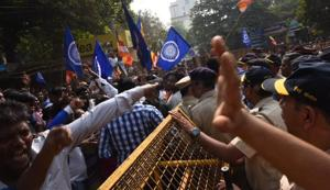 Protesters clash with the police in Powai on Tuesday.