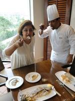Karen Anand (left) and chef Maitreya Sen at Hyatt Regency in Kolkata