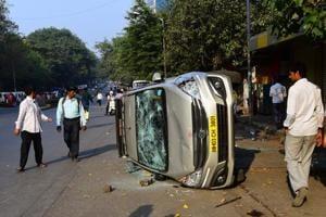 Protesters vandalised vehicles at Vikhroli on Wednesday.