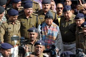 Former Bihar CMLalu Prasad arrives at the special CBI court in Ranchi in connection with the fodder scam case. (Parwaz Khan / HTPhoto)