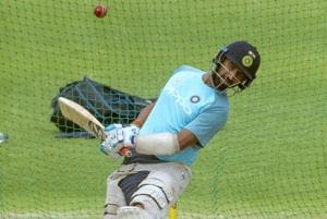 Indian batsman Cheteshwar Pujara avoids a ball during practice in Cape Town ahead of the first Test vs South Africa.