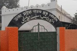 Boundary wall of the Uttar Pradesh Haj committee's office has been repainted in cream colour within 24 hours of the structure being painted in saffron coat