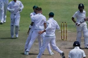 South Africa cricket team bowler Dale Steyn (C) pulled up three balls into his 18th over after taking two for 51 in the first Test against the Indian cricket team at Newlands.