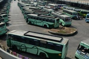 Buses parked at a depot during a transport strike in Chennai. The indefinite strike by transport employees over their demand for a wage hike, paralysed bus services across Tamil Nadu for the third consecutive day on Saturday