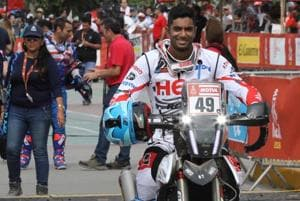 CS Santosh, Hero MotoSports Team Rally Rider at the flag-off of Dakar 2018 in Lima in Peru. He finished Day 1 of the Dakar Rally in 13th position.