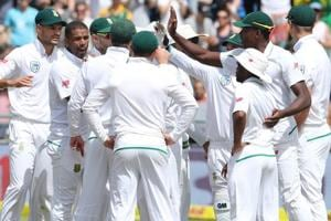 South Africa cricketers celebrate after winning the first Test against India in Cape Town. Get highlights of India vs SouthAfrica, first Test, Day 4, here.