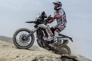 India's CS Santosh of Hero MotoSports in action at the Dakar Rally.