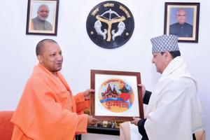 Ex-Nepal king calls on Yogi, gets Kumbh logo as gift