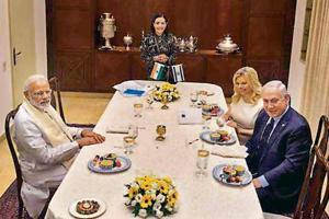 Reena Pushkarna with PM Modi and Israeli PM Netanyahu and his wife in July last year.