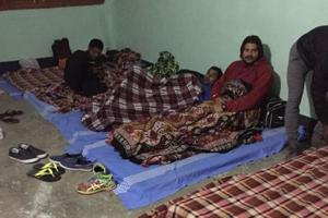 Mattresses on the floor for hockey players in chilly Imphal