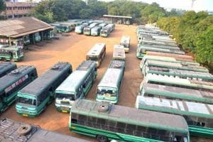 Government buses remain parked at a depot in Madurai following a strike by Tamil Nadu State Transport Corporation.
