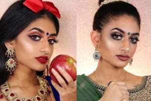 Not only does  US-based make-up artist Hamel Patel's Snow White look(left) have a red bow and dark blue clothing , but she's got an apple as a prop, much like the original. Read on to see many more re-imagined princesses, including Mulan (centre) and Jasmin (right) and prepare to be amazed.