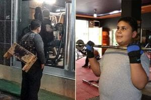 (L) Muhammet Halit looking longingly through the glass walls of the gym; (R) Halit trying out his hand at the equipment.