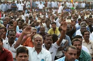 Tamil Nadu transport workers stage protest in Chennai demanding a wage hike.