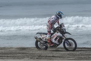 CS Santosh of Hero MotoSports n action during the start of the fourth stage of the 2018 Dakar Rally, which involved a mass start at the beachfront, before the riders hit the dunes.