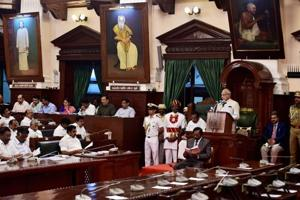 Tamil Nadu governor Banwarilal Purohit during his maiden address to the state assembly in Chennai on January 8.