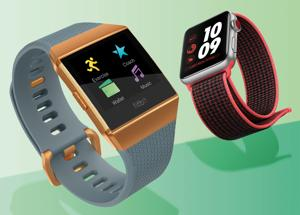 The Fitbit Ionic (left) works best as a fitness tracker while the Apple Watch 3 scores high on smartwatch functionality