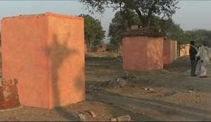 Villagers give toilets in Akhilesh's  home district a saffron hue
