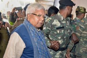 Former Bihar chief minister Lalu Prasad Yadav arrives at the special CBI court in Ranchi from Birsa Munda Jail, in Ranchi.