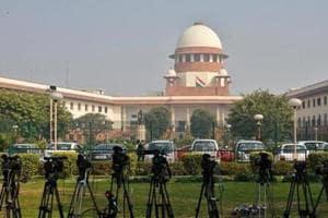 TV cameras inside the premises of the Supreme Court in New Delhi, India, February 18, 2014.