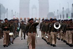 Republic Day parade rehearsals underway on a cold, foggy January morning in the heart of New Delhi.